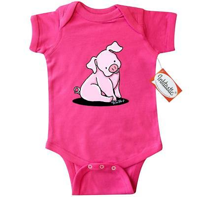 Inktastic Sitting Pig Infant Creeper - KiniArt Cute Piglet Pink Farm Chicken Cow