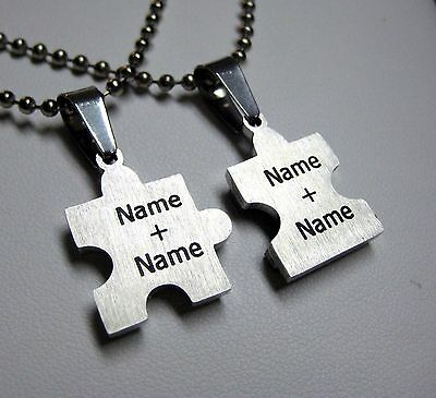 PERSONALIZED Stainless Steel Heart Puzzle Pendant Necklace Set
