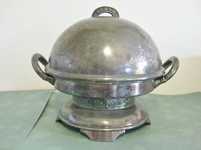 Antique Wilcox Domed Butter Dish Quadruple Silverplate #3213 Natural Patina