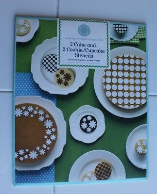 Martha Stewart Collection 2 Cake and 2 Cookie Stencils New Dots and Daisies