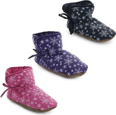 Shuperb NIUMA Kids Childrens Girls Novelty Snowflake Patterned Bootie Slippers