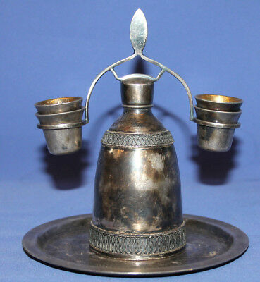 Antique Art Deco Silverplated Filigree Set Bottle 4 Cups And Tray