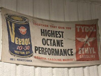 Veedol Oil  Tydol Ethyl Gas Station Canvas Banner Advertisement