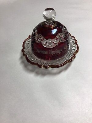 Antique Eapg Us Glass  Ruby Stained Red Block Lidded Butter Dish