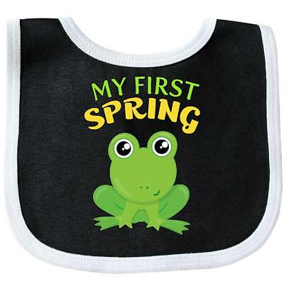 Inktastic My First Spring- Cute Frog Baby Bib 1st Day Of Kids Babys Little Green