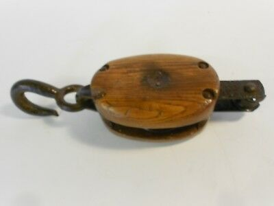 "3 1/2"" X 5"" Wood Pulley, Block & Tackle Pulley, 11"" Over-All Length"