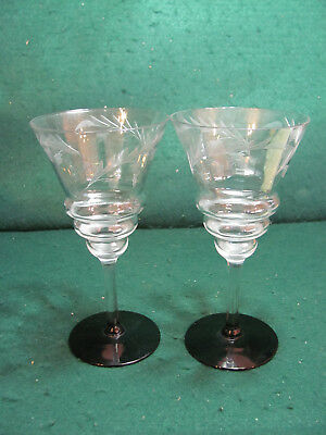 Pair Of Vintage Crystal Wine Glasses W/etching