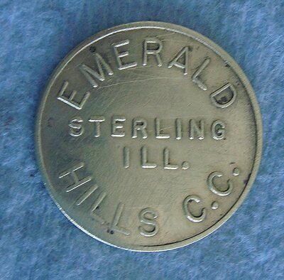 Vintage Brass Tag: EMERALD HILLS COUNTRY CLUB; Sterling Illinois; Ball Marker
