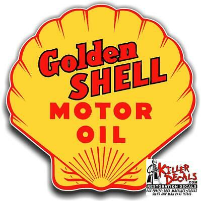 "6"" Golden Shell Lubster Decal Gas Oil Pump Sign Wall Sticker"