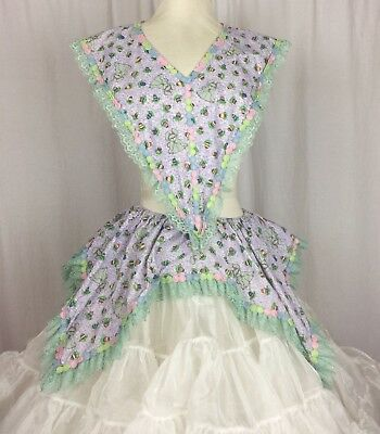 Square Dance Apron & Collar Easter Bunny Theme for over your Outfit Vintage
