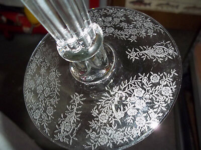 """8"""" CRYSTAL CANDLESTICK with Acid Etched Flowers & Leaves & Glass Ball  PRISMS"""