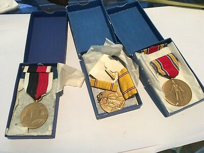 Wwii Us Lot Of 3 Ww2 Usa Medals