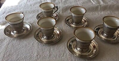 SIX ANTIQUE Sterling Silver LENOX Cups & Saucers DEMITASSE