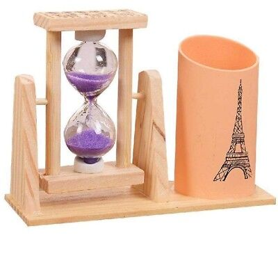 Wood Pen Holder Office Desk Accessories With Hourglass Pencil Holder Pen Stand