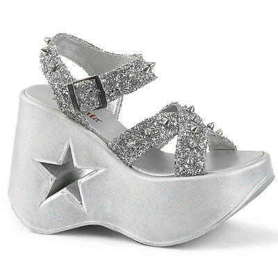 670b785ab54 Pleaser Demonia Dynamite 02 Silver Glitter Star Cutout Platform Wedge  Sandals