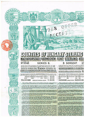 Counties of Hungary Sterling Loan, 1927, LB 100, nice