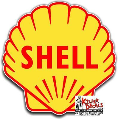 """(shell #13) 12"""" SHELL gasoline pump LUBSTER DECAL GAS OIL WALL STICKER"""
