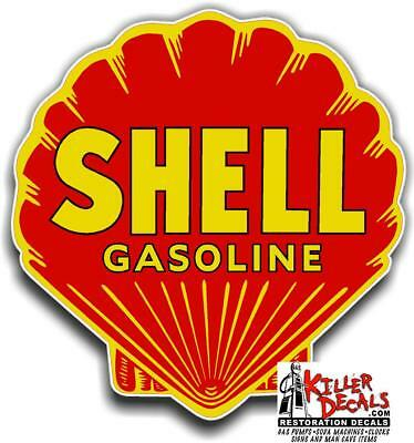 """(shell #11) 12"""" RED SHELL gasoline pump LUBSTER DECAL GAS OIL STICKER"""