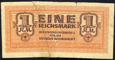 Greece German Occupation WWII 1 Reichsmark Pick # M36 used in Thessaloniki 1944
