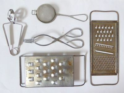 Vintage Kitchen Utensil Lot Graters Strainer Ekco Tongs + Oyster Tongs Clamps