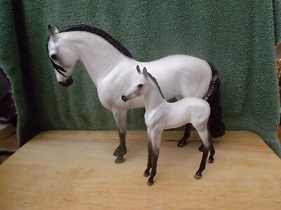 Peter Stone Andalusian Mare & Foal grey+black points both DAH program glossy