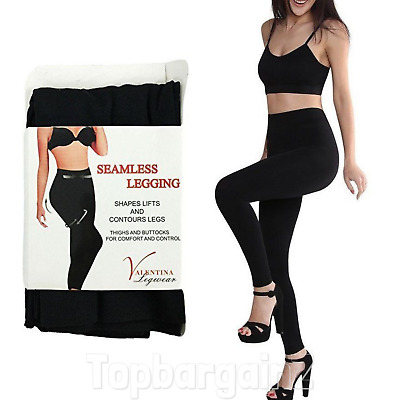 Tummy Control Leggings Black Seamless Slimming Shapewear High Waisted Support
