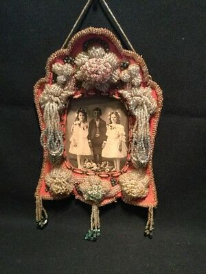 """ANTIQUE NATIVE AMERICAN BEADED WHIMSEY Picture Frame 8""""x11"""""""