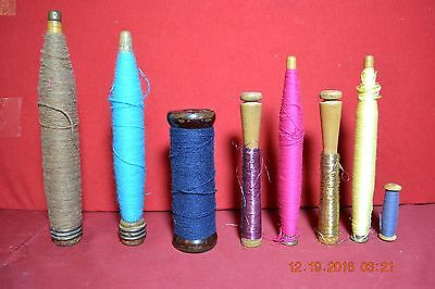 Eight Early  Wooden Sewing Knitting Spinning Bobbins Spools With Yarn