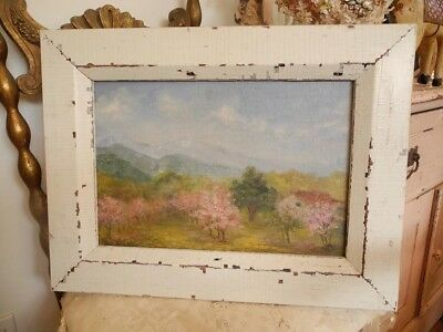 Fab Vintage Landscape Farm Barn House Oil Painting~Org. cHiPpY White Paint Frame