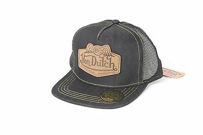 Von Dutch Leather Patch Flat Bill Mesh Trucker Hat New, Authentic, Free Shipping