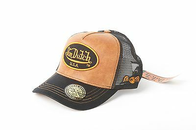 Von Dutch Patch Yellow Leather Black Trucker Hat New, Authentic, Free Shipping