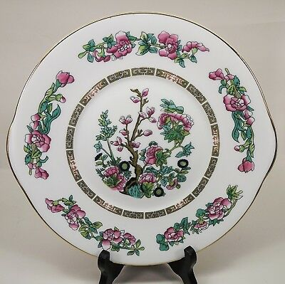 Handled Cake Plate  Royal Grafton Indian Tree Pattern Smooth Edge Near Mint EUC