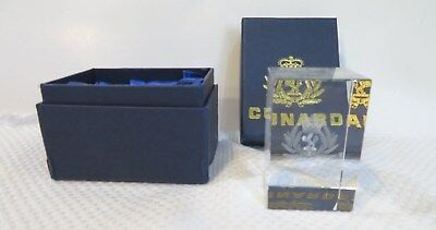 The Queen Mary 2-Cunard Lines Logo-Etched Inside Glass-Paperweight? W/box