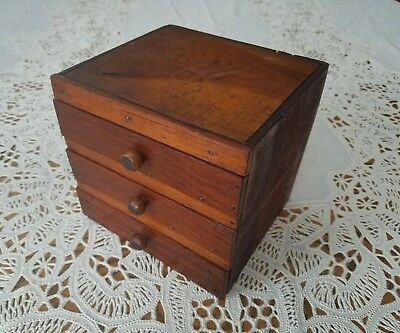 Vintage Small Handmade Primitive Wooden Cube Box w/Drawers Great Patina