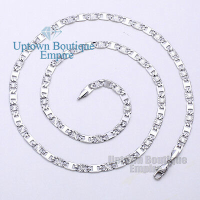 "18-36"" Men Women stainless steel Silver 4 mm Anchor Flat Mariner Necklace Chain"