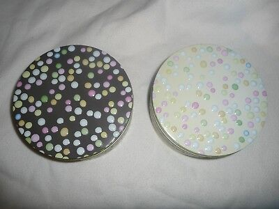 """Joblot 27 New Tins 7"""" Round Metal Tins Sweet Gifts Mix Multicolour Dots.easter."""