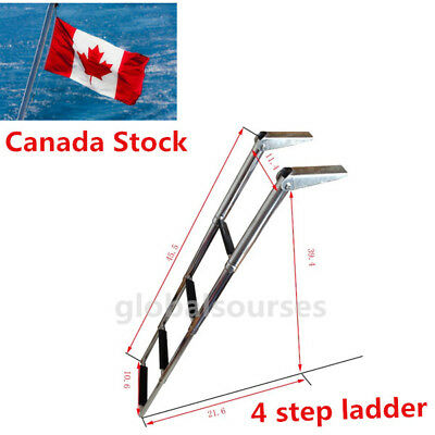 CA Ship 304 Stainless Steel 4 Step Telescoping Swim Ladder For Marine Boat Yacht