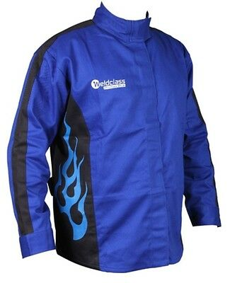 Fire Retardant Welding Jacket Weldclass Blue Flame Size : Medium (WC-01797)