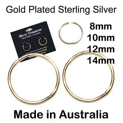 22ct Gold Plated Sterling Silver Sleepers 8mm 10mm 12mm 14mm Aussie made