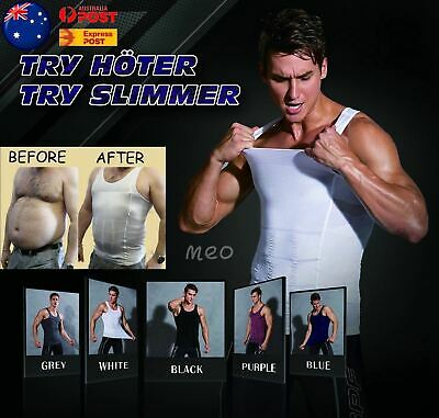 Mens Slimming Body Slim Shaper Underwear Corset Compression Vest Singlet Dad Bod