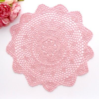 Crochet doily in pink 40 cm for millinery , hair and crafts