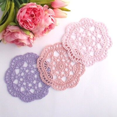 Crochet doilies light pink and purple  14-15cm for millinery and crafts
