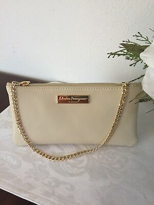 Salvatore Ferragamo Parfums Beige Large Travel Cosmetic Makeup Bag Pouch f6293afbe9