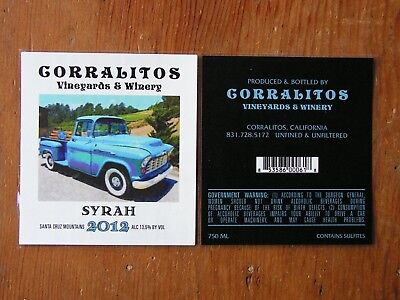Corralitos Vineyards & Winery Bottle Label Stickers ~Craft Wine Logo Decal~ NEW!