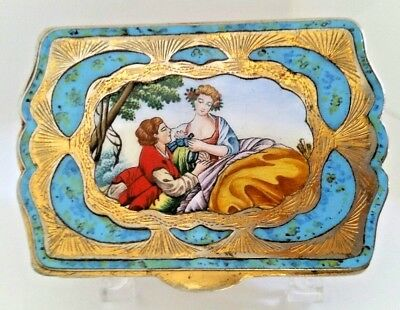 Vintage Antique Italy Gold Wash Compact Hand Painted Scene & Blue Enamel Inlay.