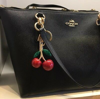 Nwt Coach Resin Cherries Red Sparkle Key Chain Fob Bag Charm F58516