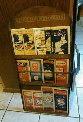 Vintage Socony Touring Road Map Display Rack Advertising with 14 maps, Pegasus