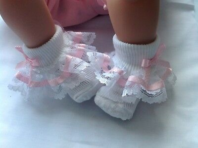 White Baby Girls Lace Frill Socks Pink Spot Ribbon Trim with Bows 6-12 months