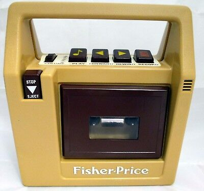 Vintage 1980s Portable Cassette Tape Recorder Player by Fisher Price #826 Brown