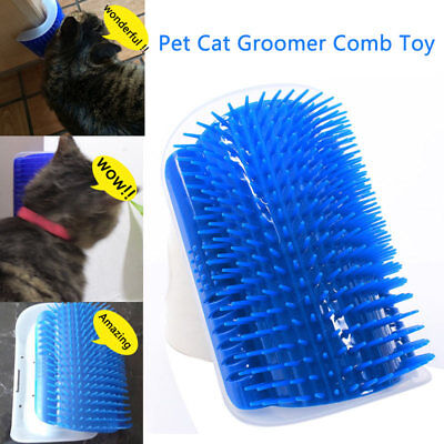 Pet Cat Self Groomer Brush Wall Corner Grooming Massager Comb Catnip Toy